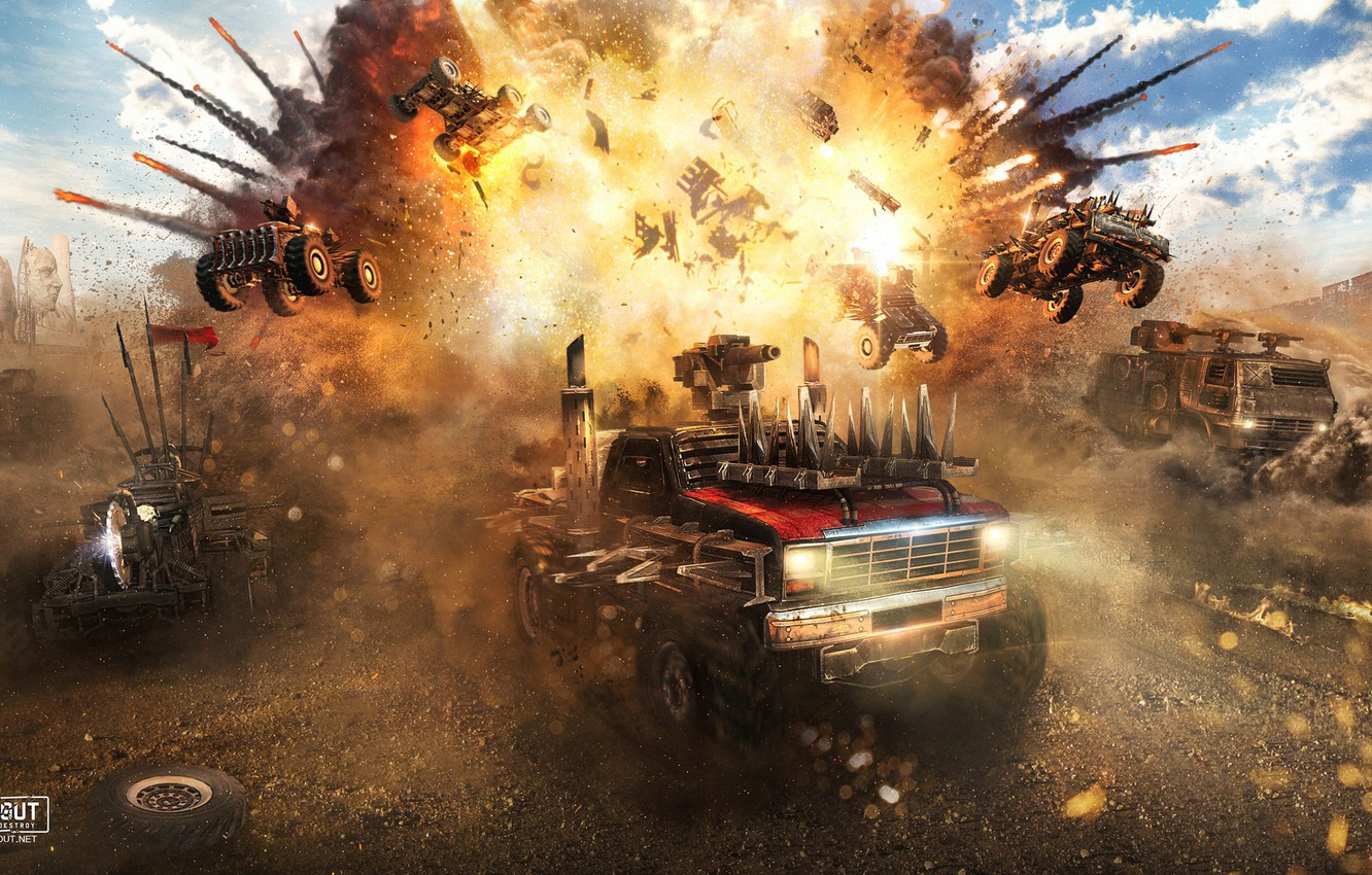 Photo wallpaper machine, the explosion, Sandy valley, CROSSOUT