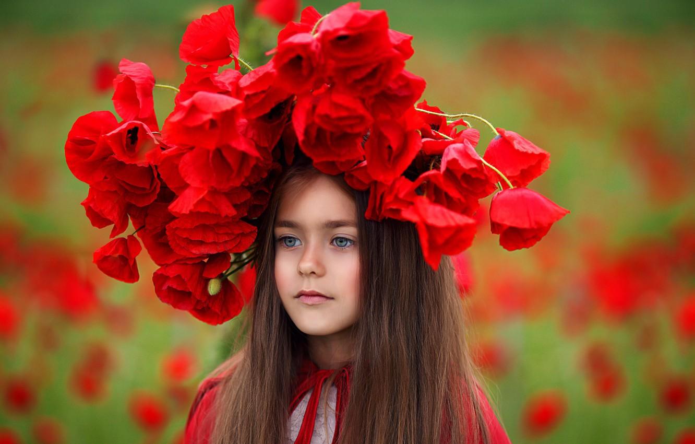 Photo wallpaper flowers, Maki, girl, wreath