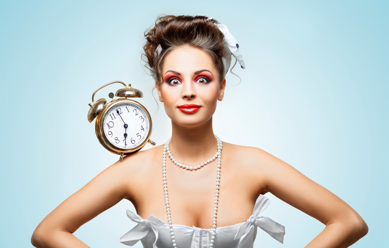 Photo wallpaper girl, face, background, watch, surprise, makeup, dress, alarm clock, hairstyle, beads, brown hair, in white