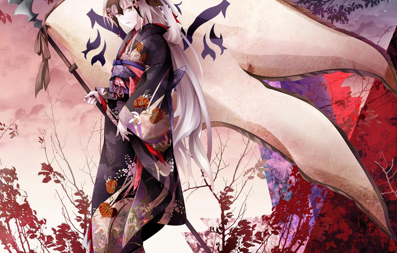 Photo wallpaper girl, anime, flag, art, yukata, Fate Grand Order, The destiny of a great campaign