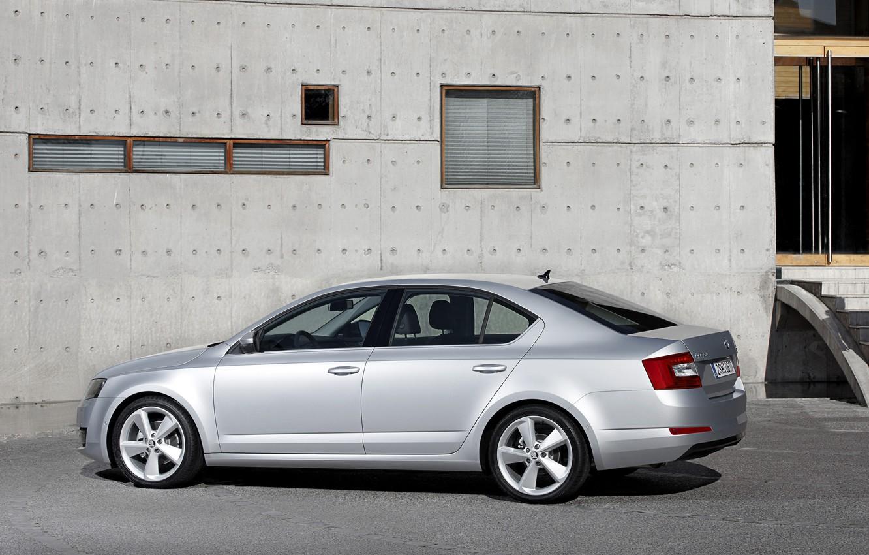 Photo wallpaper wall, Parking, sedan, Skoda, 2013, Skoda, Octavia, gray-silver