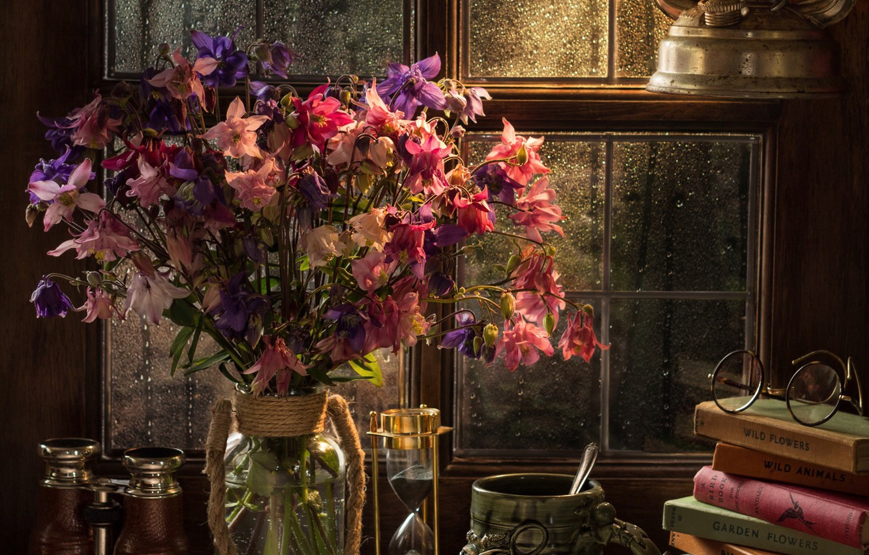 Photo wallpaper flowers, style, books, lamp, bouquet, window, glasses, mug, binoculars, hourglass, Aquilegia