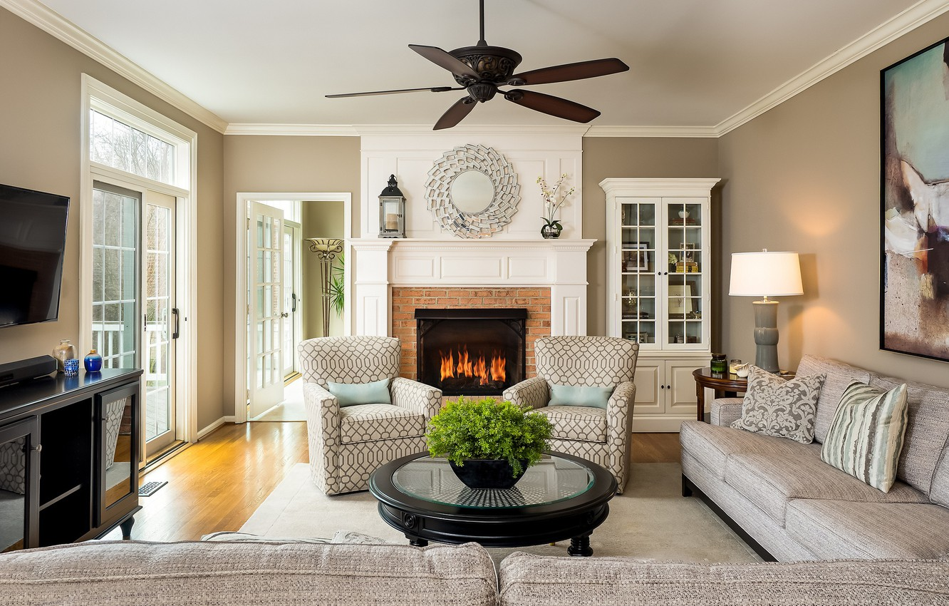Photo wallpaper design, sofa, fire, chairs, fireplace, table, living room, sideboard