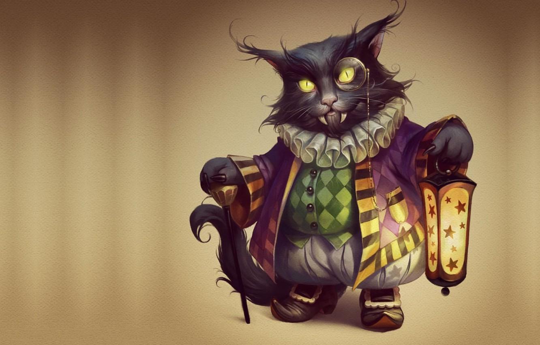 Photo wallpaper cat, holiday, art, Halloween, vampire, Halloween, suit, Valeria Styajkina, 2d