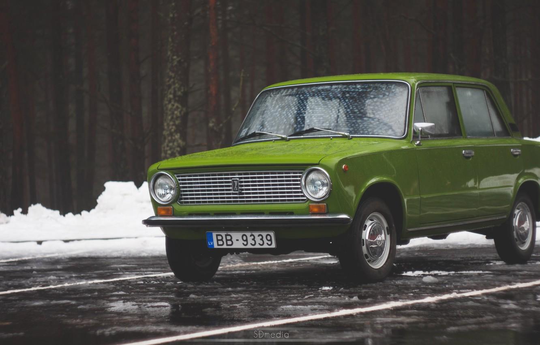 Photo wallpaper snow, Winter, penny, green, Lada, 2101, Latvia, Sdmedia, round headlights
