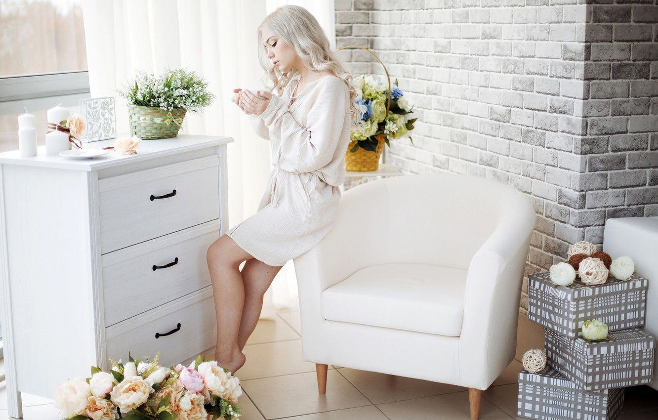 Wallpaper girl, flowers, room, interior, chair, candles, makeup
