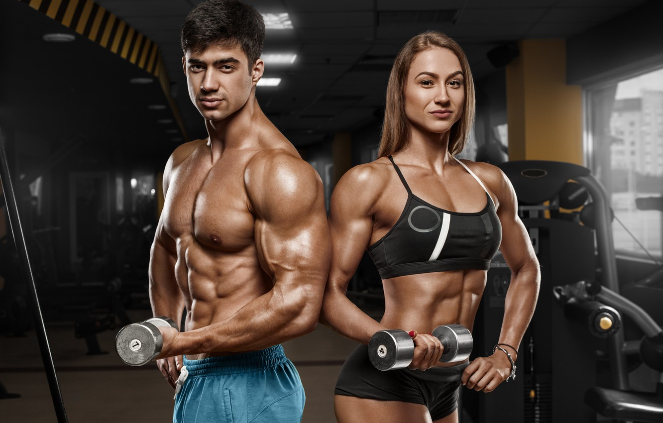Photo wallpaper woman, men, fitness, bodybuilders
