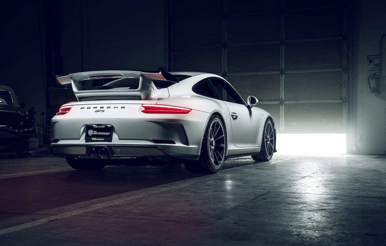 Photo wallpaper 911, Porsche, GT3, White, Supercar, Garage, Rear