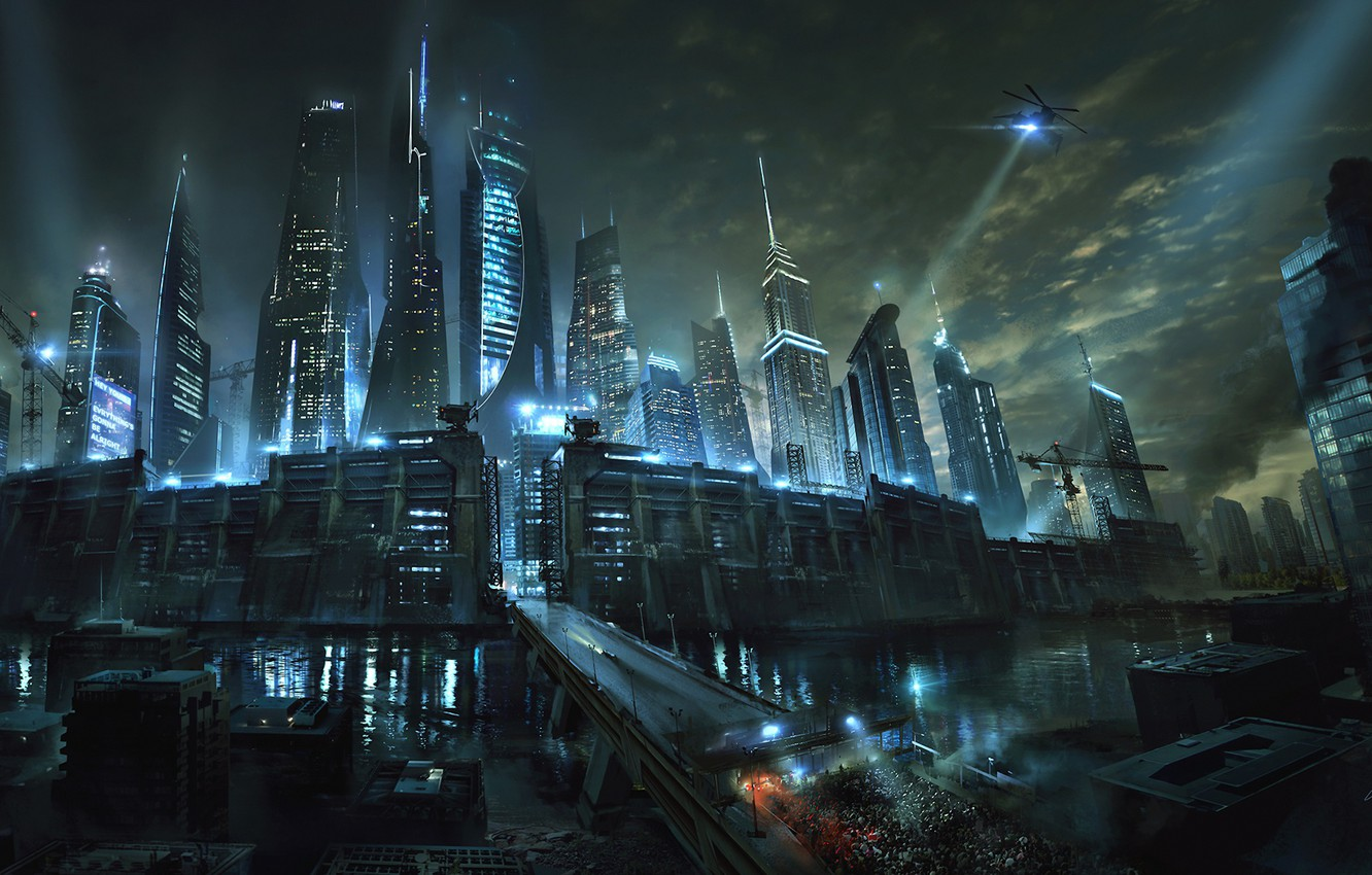 Photo wallpaper road, night, the city, river, fiction, wall, skyscrapers, art, The maze runner, Maze Runner, Death ...