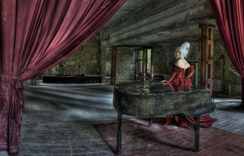 Photo wallpaper girl, vampire, piano