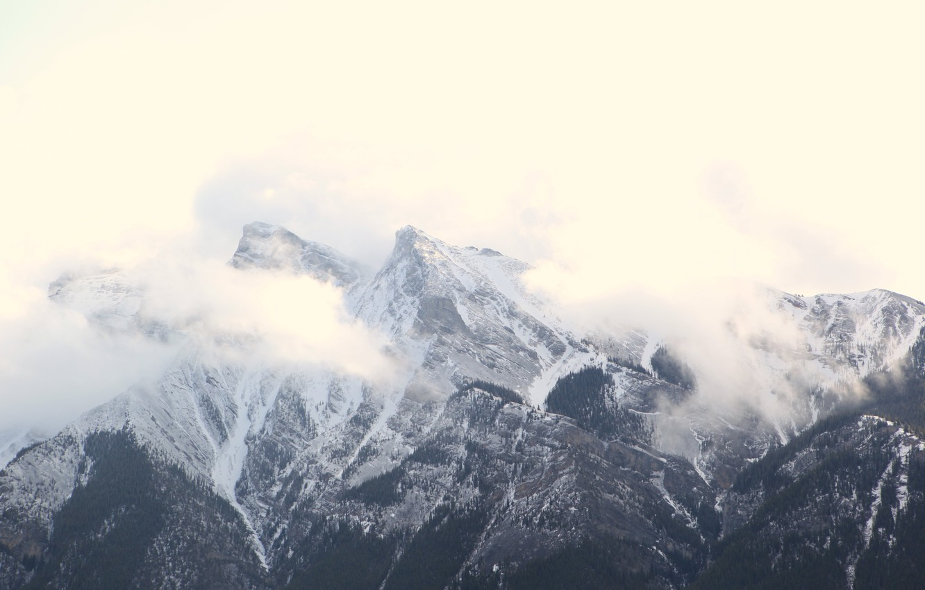 Photo wallpaper clouds, snow, mountains