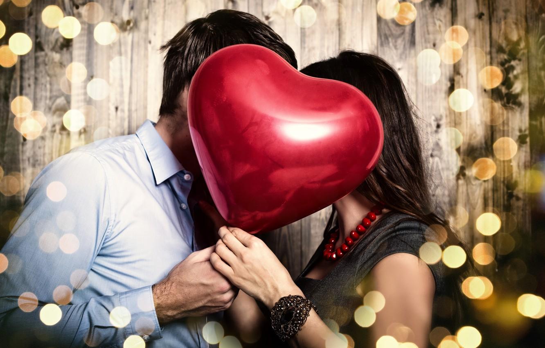 Photo wallpaper girl, decoration, red, glare, background, heart, dress, pair, shirt, brown hair, guy, heart, Valentine's day, …