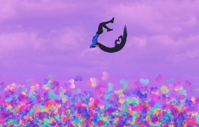 Photo wallpaper girl, background, jump, hair, hearts