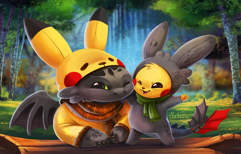 Photo wallpaper kawaii, game, anime, cartoon, crossover, cosplay, Pokemon, cute, manga, How to Train Your Dragon, animated …