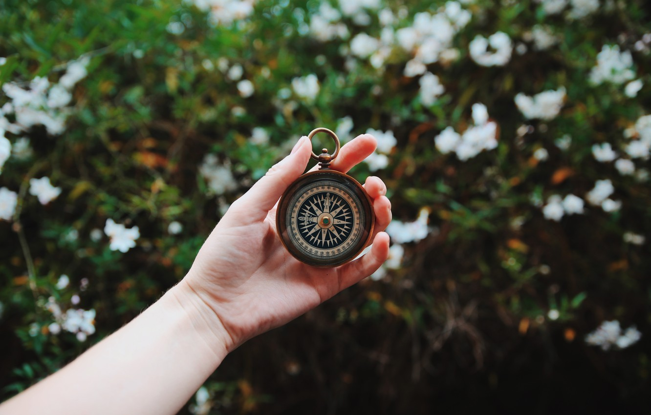 Photo wallpaper girl, retro, hand, compass, vintage, compass in hand
