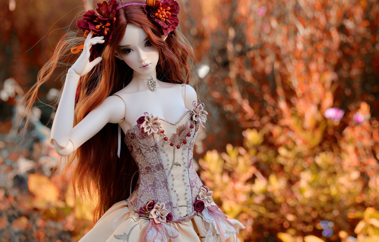 Photo wallpaper decoration, flowers, nature, toy, doll, dress
