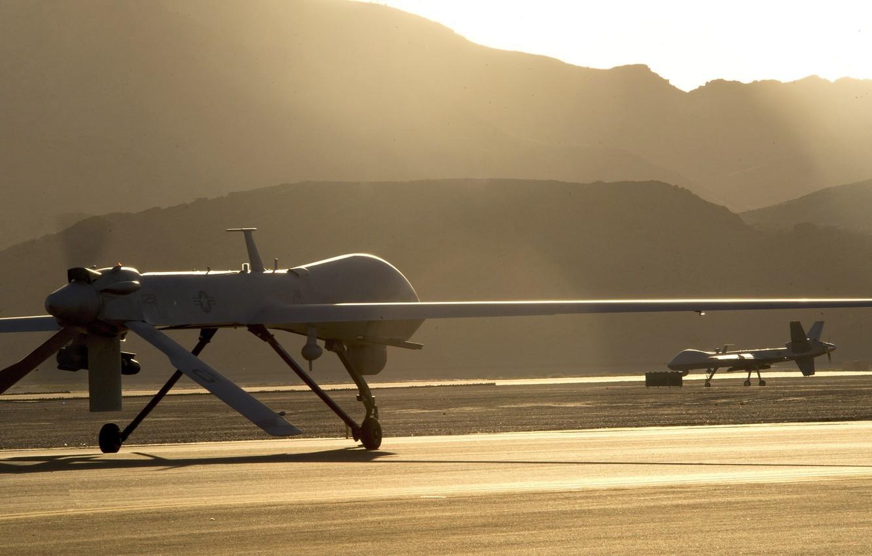 Photo wallpaper USA, Reaper, combat, technology, drone, montain, high technology, high tec, MQ9