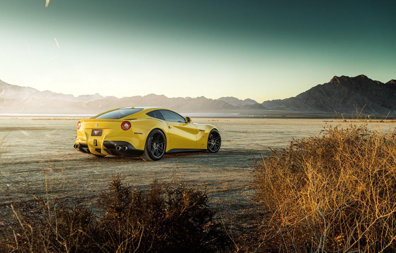 Photo wallpaper design, desert, the bushes, yellow, cool, The Ferrari F12