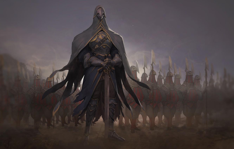 Photo wallpaper sword, warrior, mask