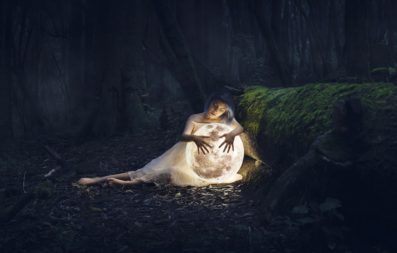 Photo wallpaper forest, girl, mood, planet, the situation, The moon