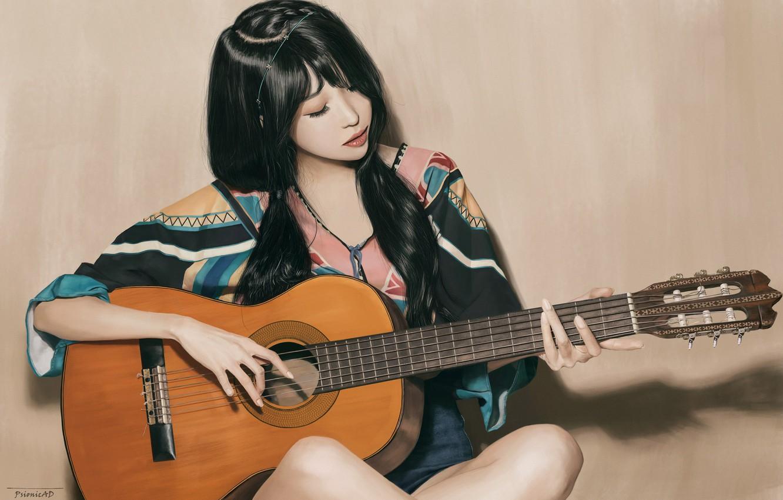 Photo wallpaper Girl, Figure, Look, Guitar, Asian, Girl, Brunette, Brunette, Asian, Sitting, Guitar, Beauty, Beautiful, Woman, Look, …