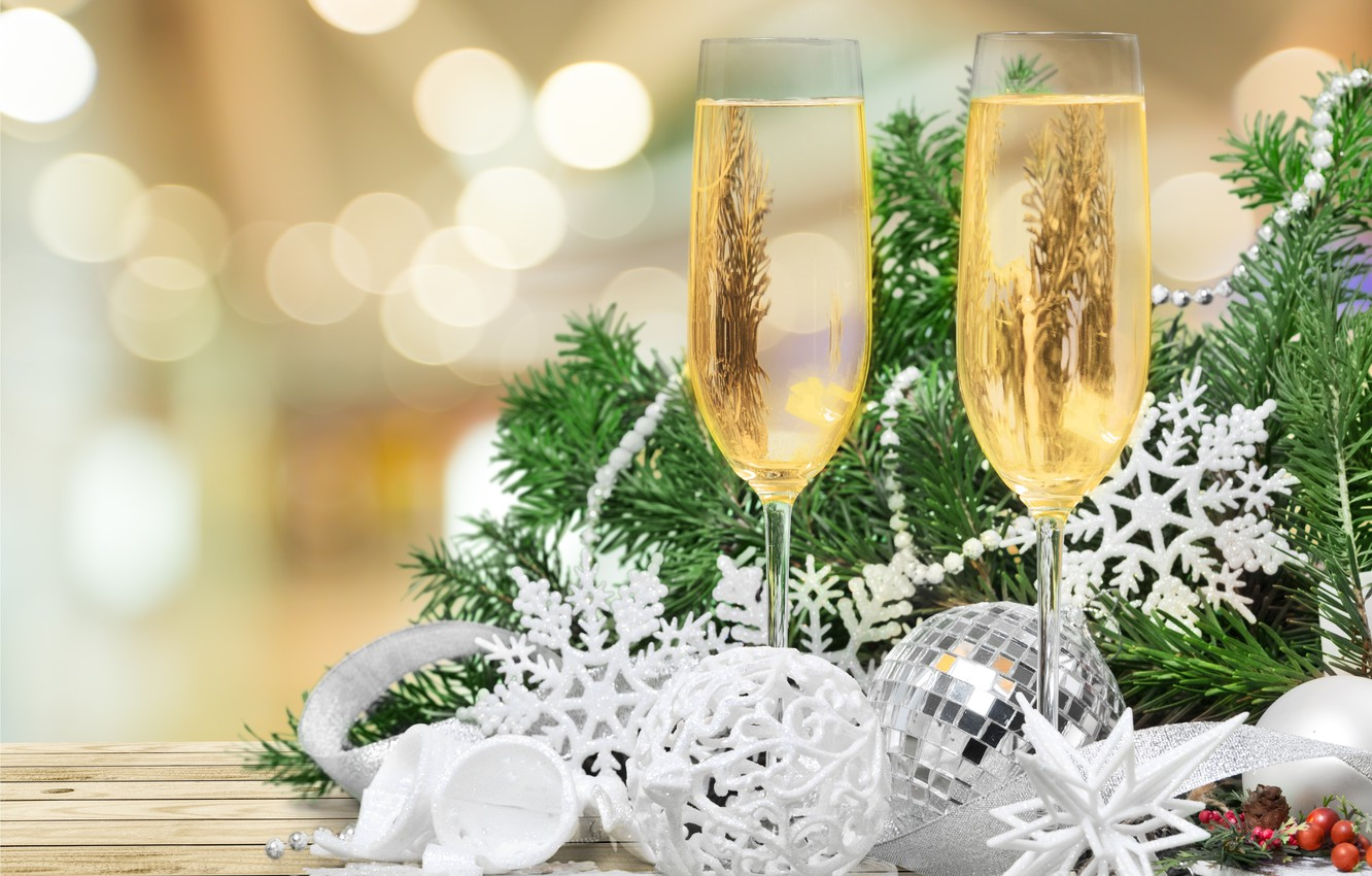 Photo wallpaper tree, New Year, glasses, Christmas, new year, happy, decoration, champagne