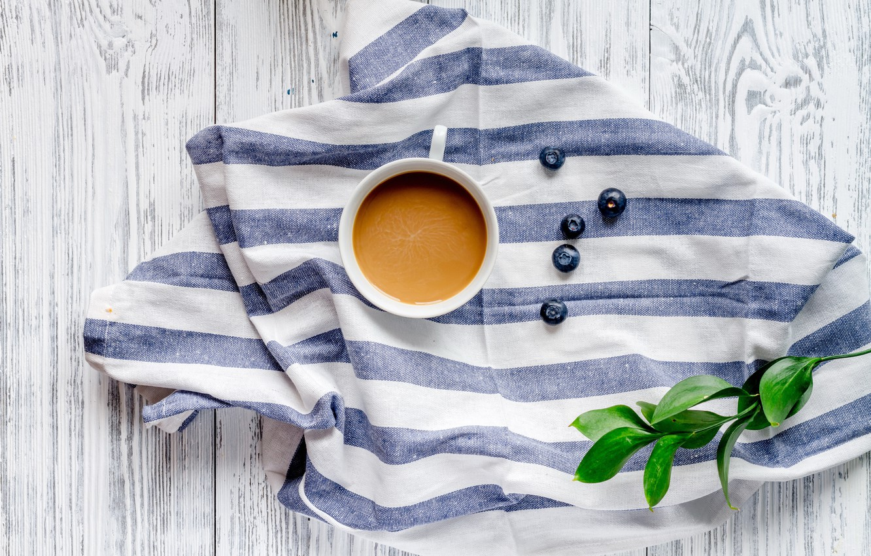 Photo wallpaper berries, coffee, Breakfast, blueberries, coffee cup, cocoa, breakfast