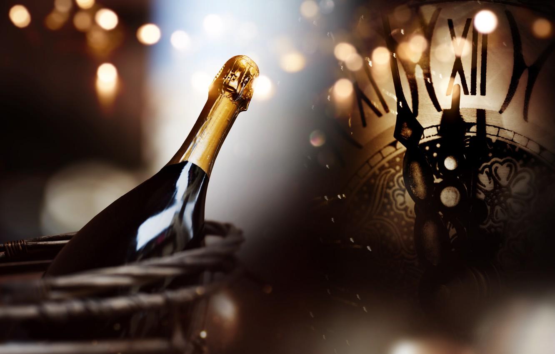 Photo wallpaper night, watch, tree, New Year, glasses, champagne, 2018, New Year