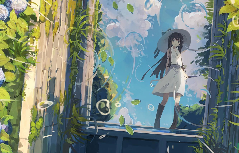 Photo wallpaper nature, plants, girl