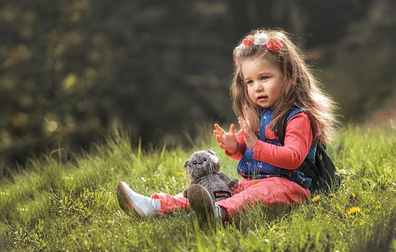 Photo wallpaper summer, grass, nature, toy, girl, baby, child, bokeh, Aleksandr Myshkevich