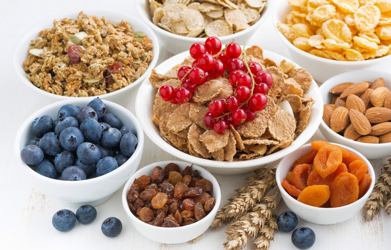 Photo wallpaper berries, Breakfast, nuts, breakfast, muesli, dried fruits, muesli, fresh berries