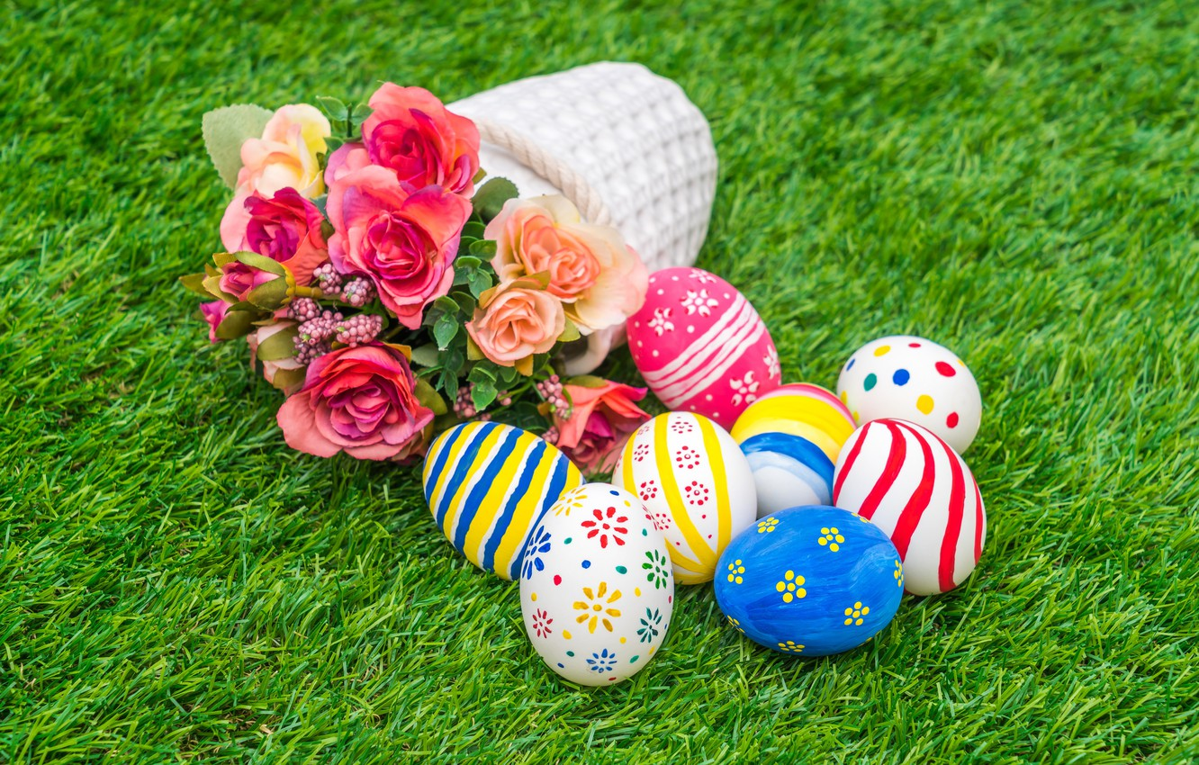 Photo wallpaper flowers, holiday, basket, eggs, Easter, weed