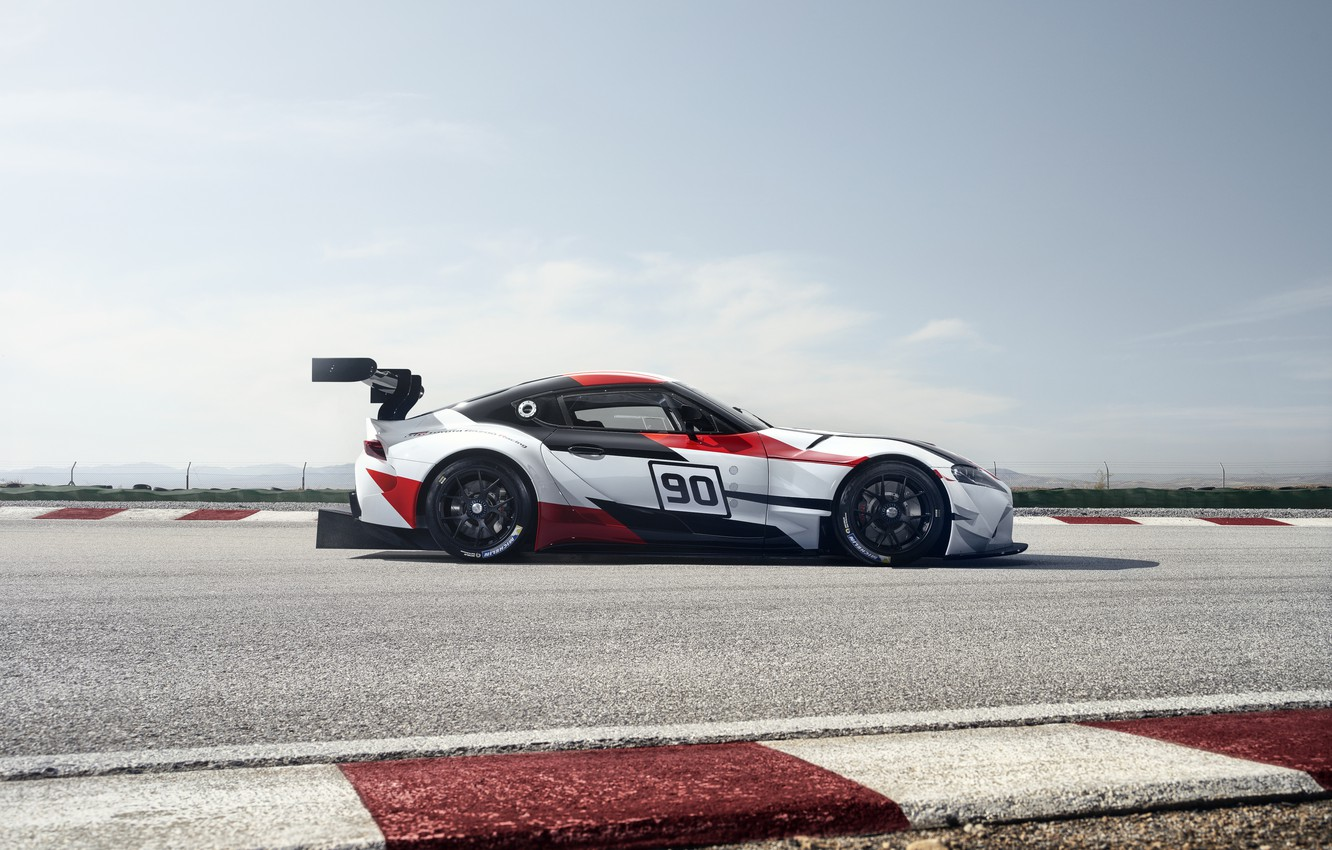 Photo wallpaper the sky, movement, vegetation, coupe, track, the fence, Toyota, 2018, wing, GR Supra Racing Concept