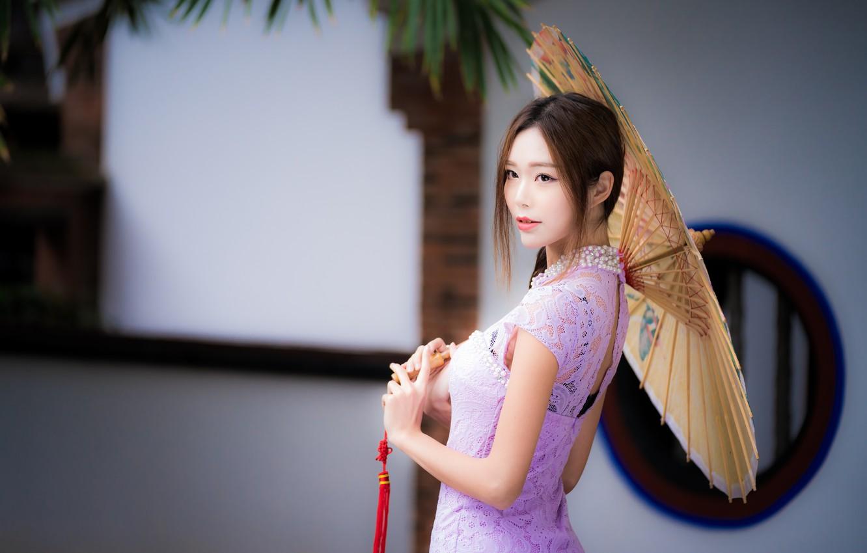 Photo wallpaper girl, umbrella, Asian, cutie, bokeh