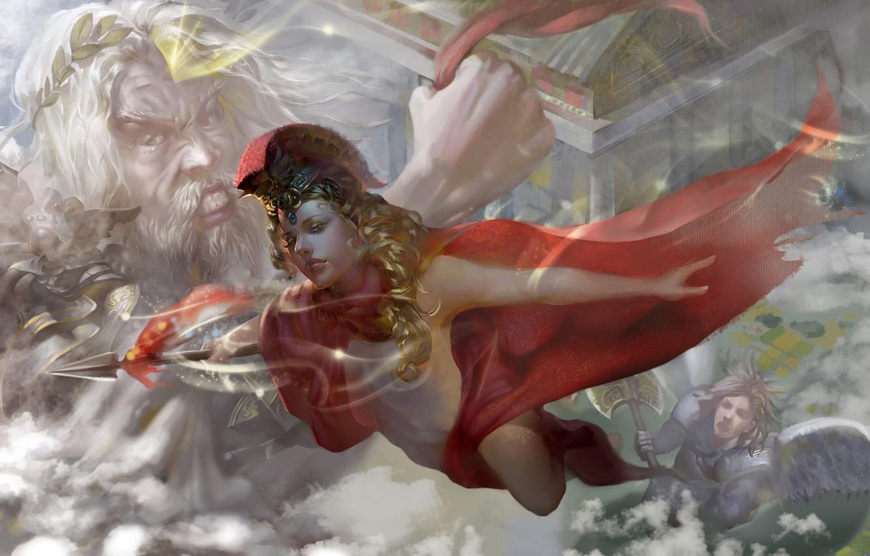 Photo wallpaper fantasy, magic, digital art, artwork, warrior, fantasy art, goddess, Zeus, cloak, Athena, mythology, god, pearls, …