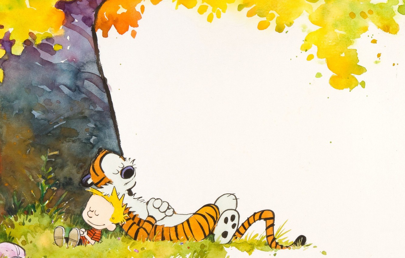 Wallpaper Tiger Tree Boy Comic Sleep Lie Calvin And Hobbes