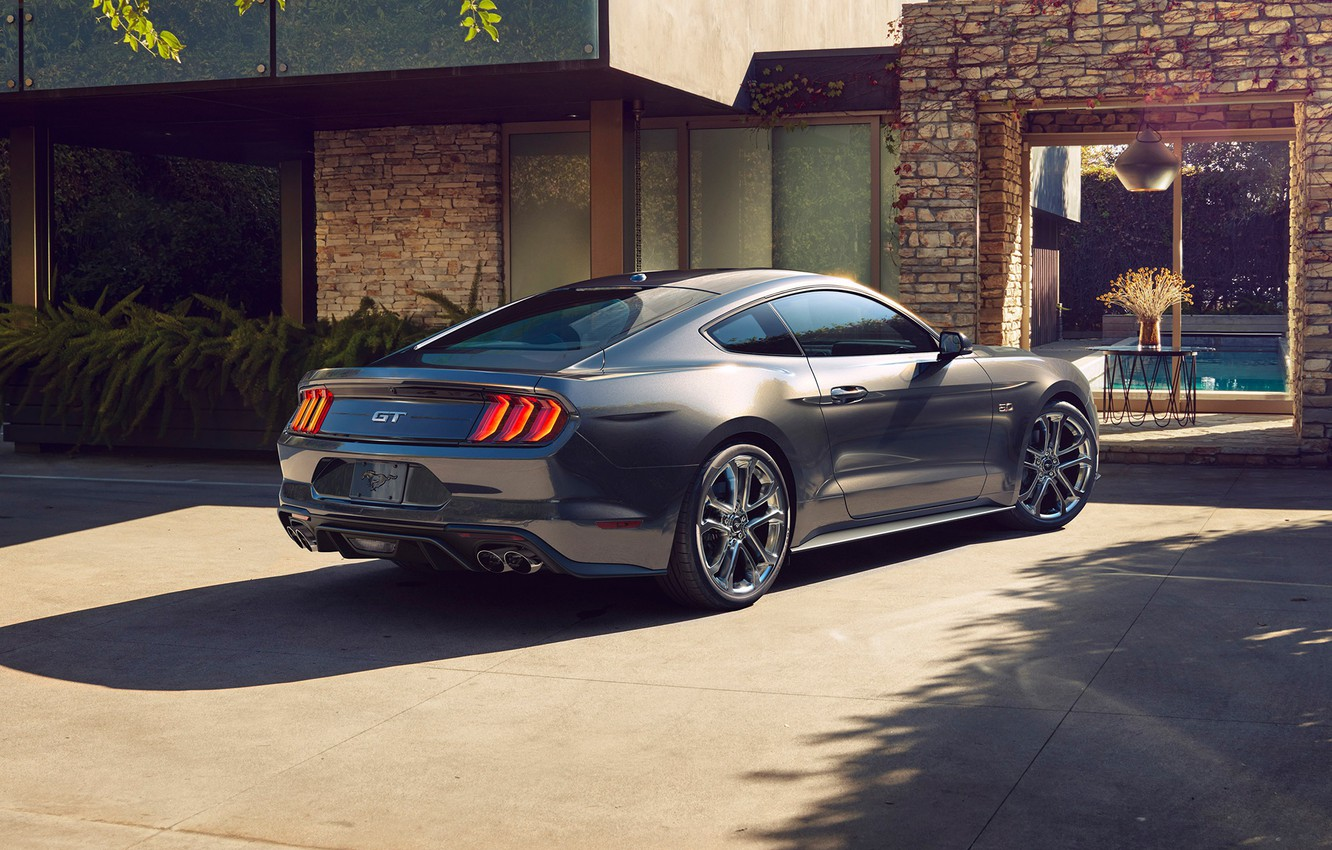 Wallpaper Ford Mustang Grey 2018 Mustang Gt Rear View