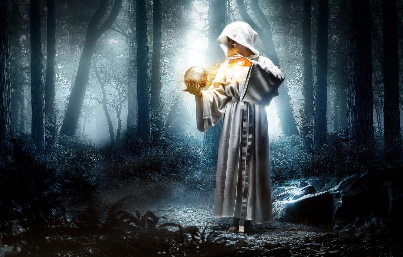 Photo wallpaper forest, girl, fantasy, magic, magic, ball, the situation, hood, Bathrobe
