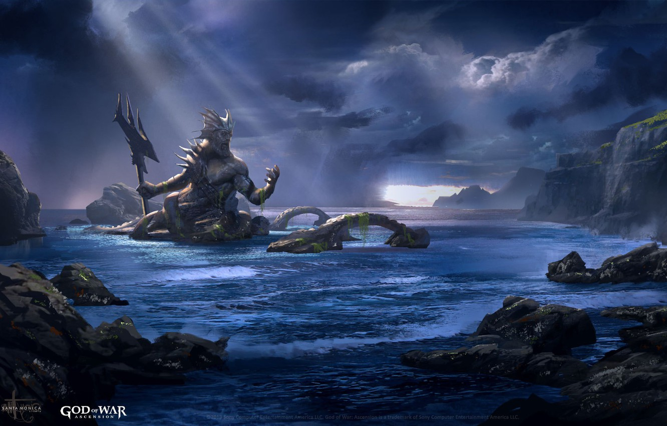 Wallpaper Game Sea Weapon God Of War Neptune God God