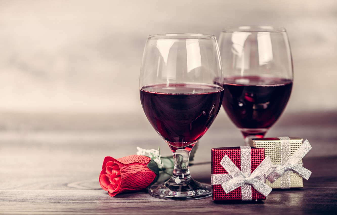 Photo wallpaper gift, wine, glasses, red, love, romantic, valentine's day, gift, roses, red roses
