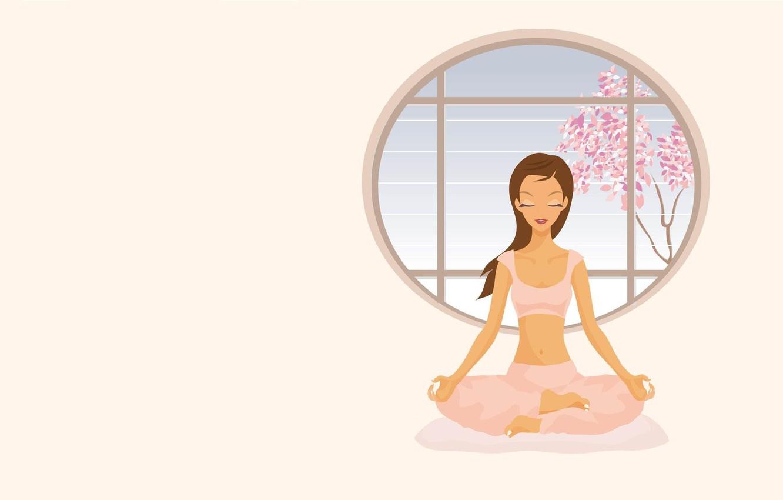 Wallpaper Girl Vector Art Yoga Asana Meditation Images For Desktop Section Minimalizm Download