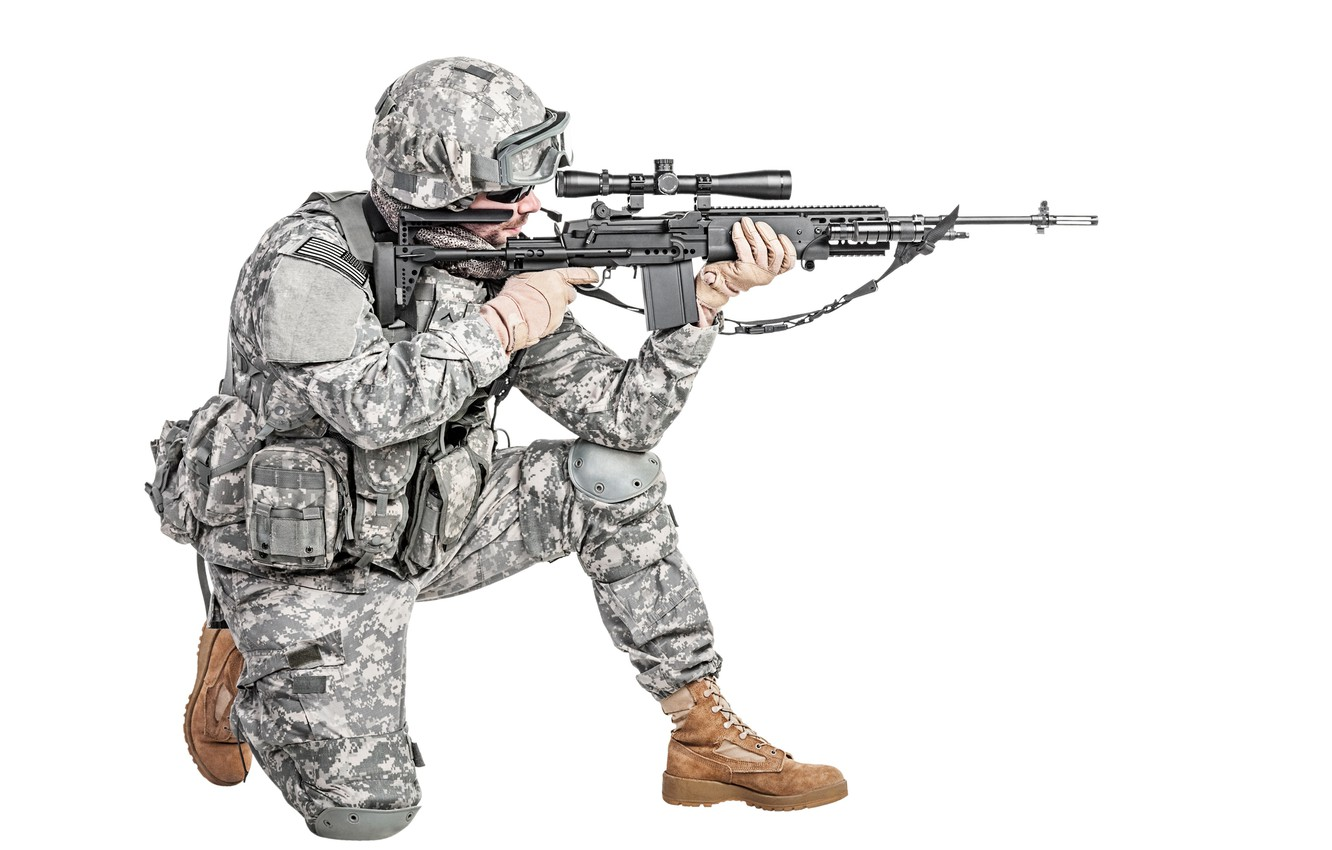 Photo wallpaper pose, weapons, shoes, glasses, soldiers, white background, gloves, helmet, sniper, camouflage, fighter, rifle, equipment, uniform, ...