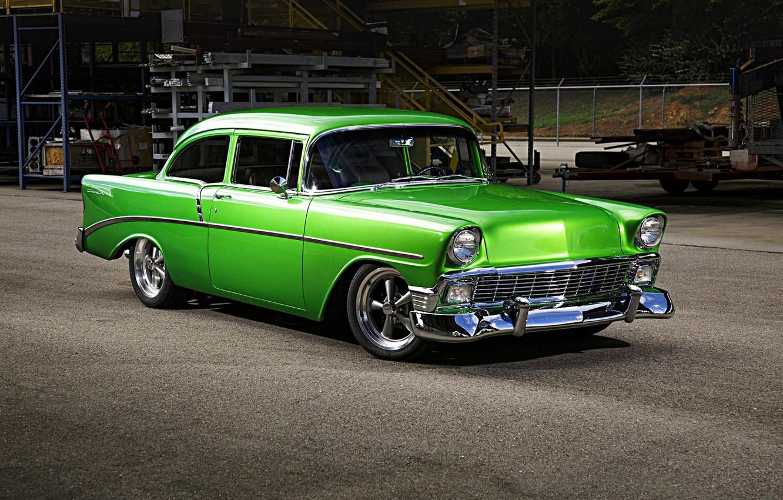 Photo wallpaper green, Chevrolet, Bel Air, custom, 1956, classic car