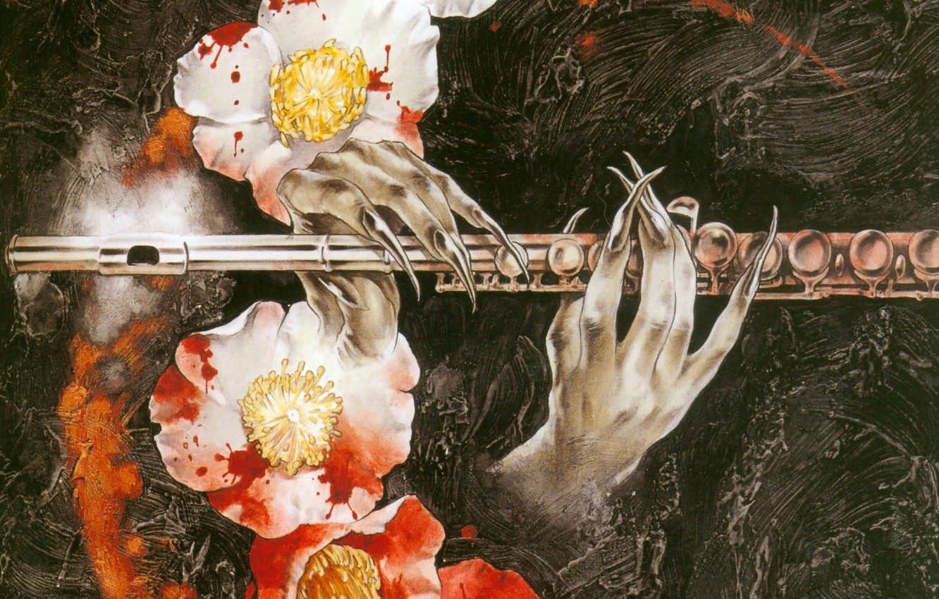 Photo wallpaper hands, claws, flute, blood, in the dark, Camellia