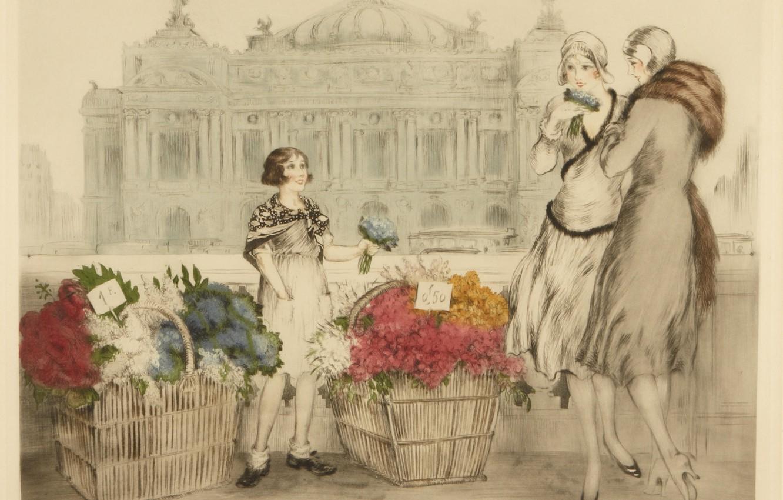 Photo wallpaper 1930, Louis Icart, Paris flowers