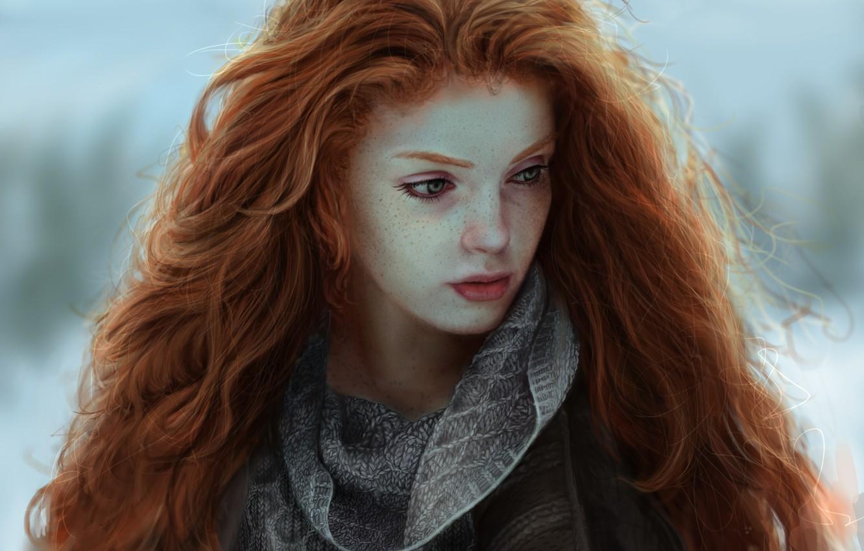 Photo wallpaper Girls, Figure, Look, Hair, Red