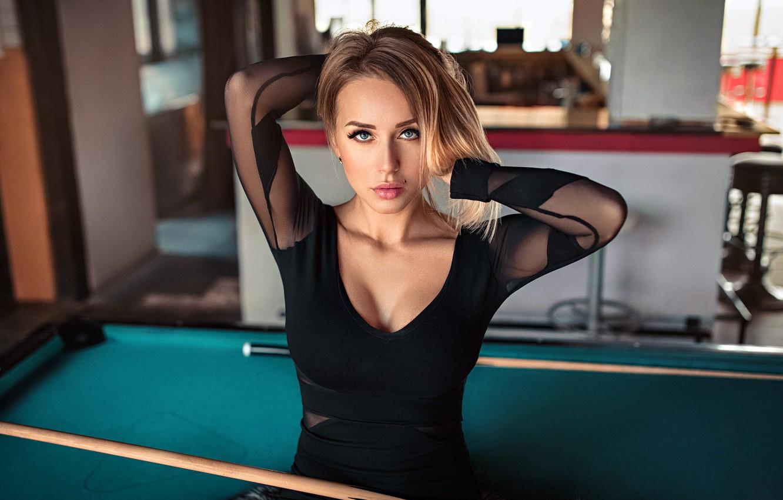 Photo wallpaper girl, cleavage, Model, dress, photo, blue eyes, bokeh, lips, face, blonde, black dress, portrait, mole, …