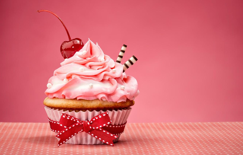Photo wallpaper bow, cake, cream, Happy Birthday, pink, sweet, cupcake, cupcake, cream, dessert