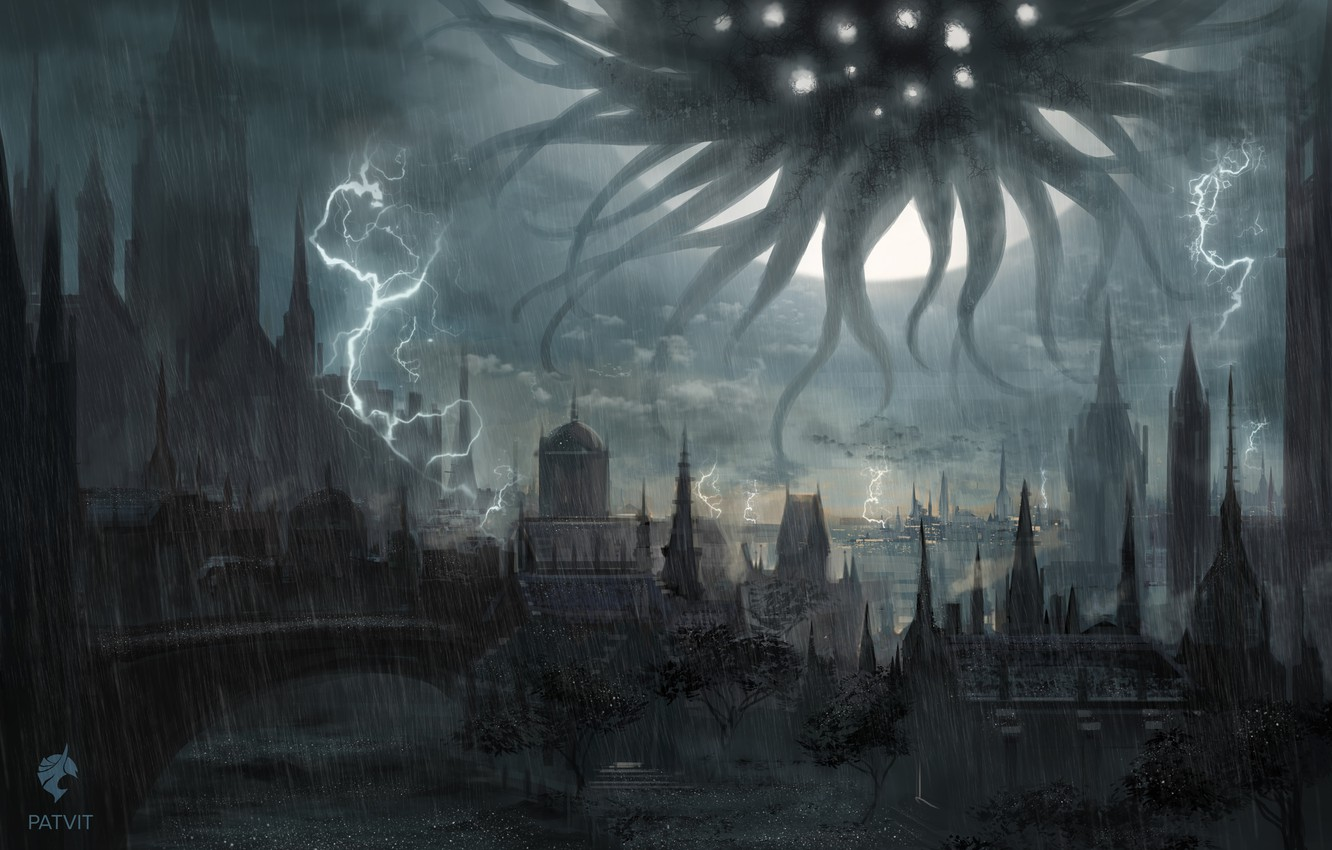 Photo wallpaper the city, zipper, monster, fantasy, art, the shower, dark fantasy