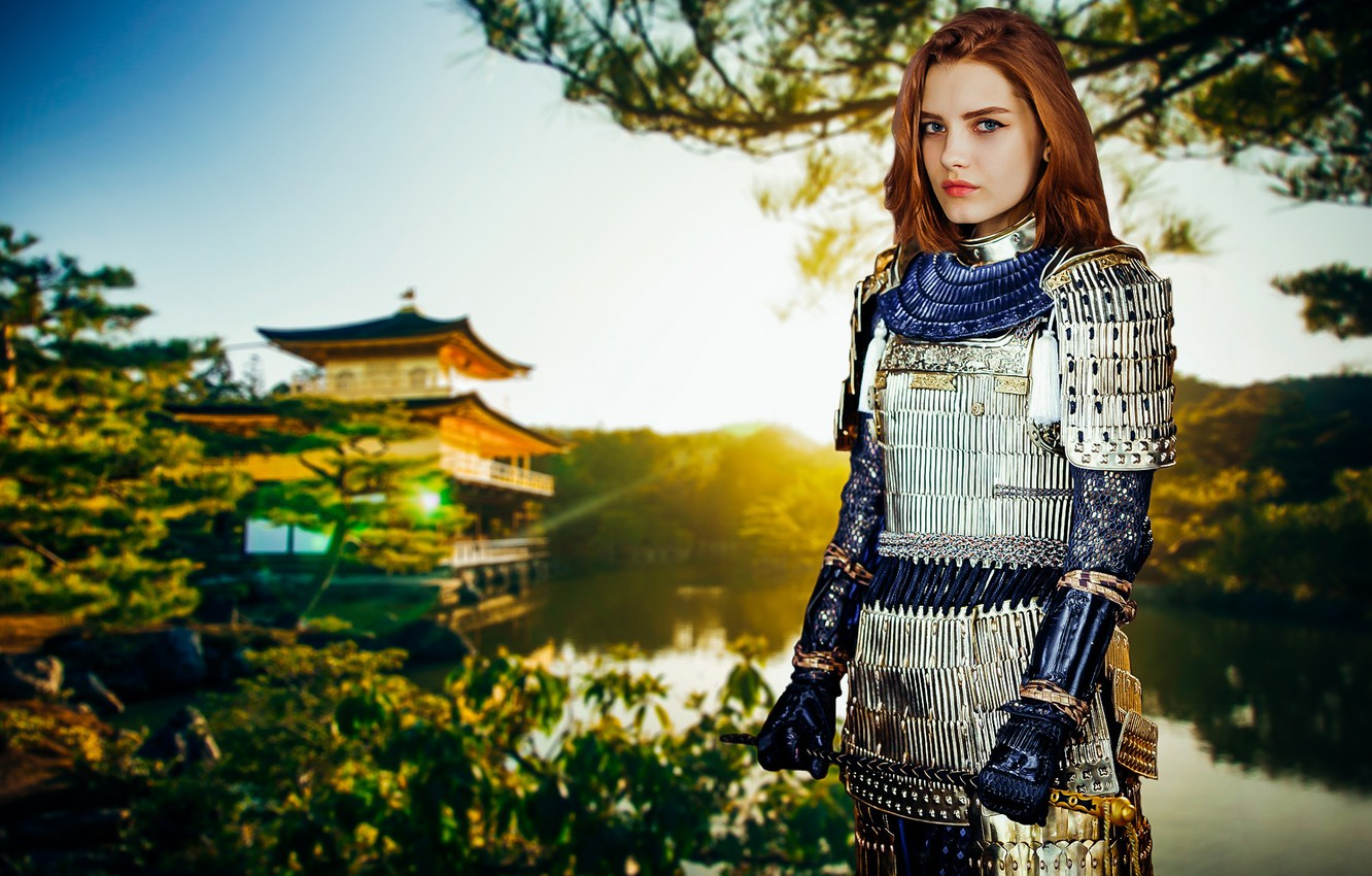 Photo wallpaper light, girl, summer, fantasy, forest, fashion, river, armor, trees, nature, young, model, sun, pretty, mood, ...